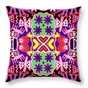 Mex Mod - Huichol 116 Throw Pillow