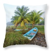 Mexican Boat In The Fog Throw Pillow