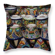 Mexican Flowerpots Throw Pillow