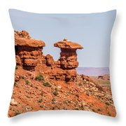Mexican Hat Rock Monument Landscape On Sunny Day Throw Pillow