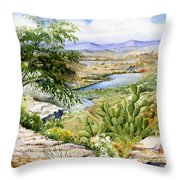 Mexican Landscape Watercolor Throw Pillow