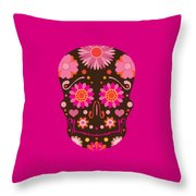 Mexican Skull Art Illustration Throw Pillow