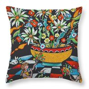 Mexican Vase With Spring Flowers Throw Pillow