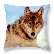 Mexican Wolf Painting Throw Pillow