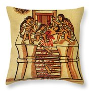 Mexico: Aztec Sacrifice Throw Pillow