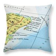 Mexico Map Throw Pillow
