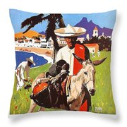 Mexico, Mexican Posing With Donkey Throw Pillow