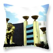 Mgm Lion In Las Vegas Throw Pillow