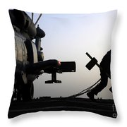 Mh-60r Sea Hawk Helicopter Is Ready For Duty Throw Pillow