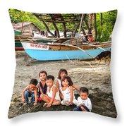 Mia-gao Fishing Children 1 Throw Pillow