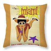 Miami Travel By Braniff Airways  1960 Throw Pillow