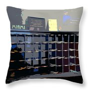 Miami Beach Hotel Key Slots Throw Pillow