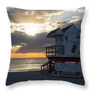 Miami Beach Life Guard House Sunrise 2 Throw Pillow