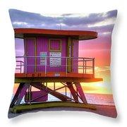 Miami Beach Round Life Guard House Sunrise Throw Pillow