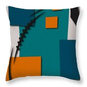 Miami Dolphins Football Art Throw Pillow
