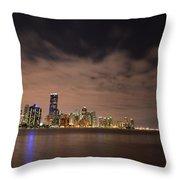 Miami Downtown At Night Throw Pillow