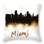 Miami Fla 2 Skyline Throw Pillow