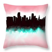 Miami Fla Skyline Throw Pillow