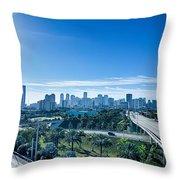 Miami Florida City Skyline And Streets Throw Pillow