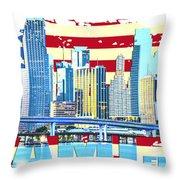 Miami Florida City Skyline Throw Pillow