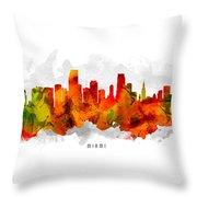 Miami Florida Cityscape 15 Throw Pillow