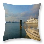 Miami Harbor Throw Pillow