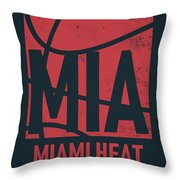 Miami Heat City Poster Art Throw Pillow