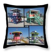 Miami Huts Throw Pillow