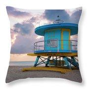 Miami Lifeguard Cabin At Sunrise Throw Pillow