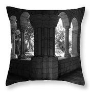 Miami Monastery In Black And White Throw Pillow