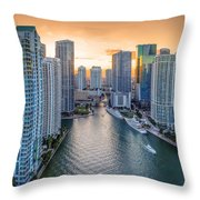 Miami River Fron The Drone Throw Pillow