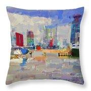 Miami Seaplane Throw Pillow