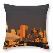 Miami Skyline At Sunset Throw Pillow