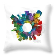 Miami Small World Cityscape Skyline Abstract Throw Pillow