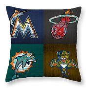 Miami Sports Fan Recycled Vintage Florida License Plate Art Marlins Heat Dolphins Panthers Throw Pillow