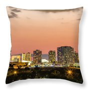 Miami Sunset Skyline Throw Pillow