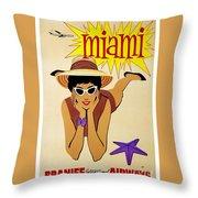 Miami Travel Poster Throw Pillow
