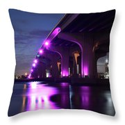 Miami Under The 395 At Night Throw Pillow