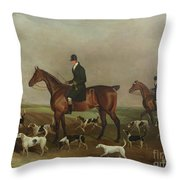 Michael Beverley With His Whipper In And Harriers Throw Pillow