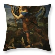 Michael Defeats Satan  Throw Pillow