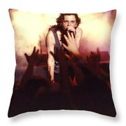 Michael Hutchence And Inxs 1985 Throw Pillow by Sean Davey