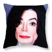 Michael Jackson Mugshot Throw Pillow by Bill Cannon