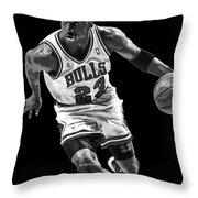 Michael Jordan Drives To The Basket Throw Pillow