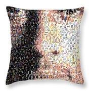 Michael Jordan Face Mosaic Throw Pillow by Paul Van Scott