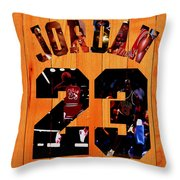 Michael Jordan Wood Art 1a Throw Pillow
