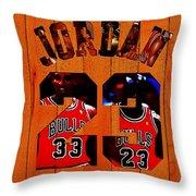 Michael Jordan Wood Art 1b Throw Pillow