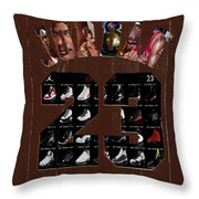 Michael Jordan Wood Art 2h Throw Pillow