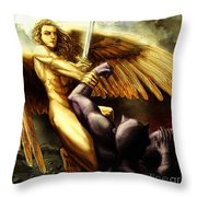 Michael Vs Devil Throw Pillow
