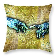 Michelangelo's Creation Of Man Throw Pillow