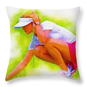 Michelle Wie Of Usa Lined Her Ball Throw Pillow